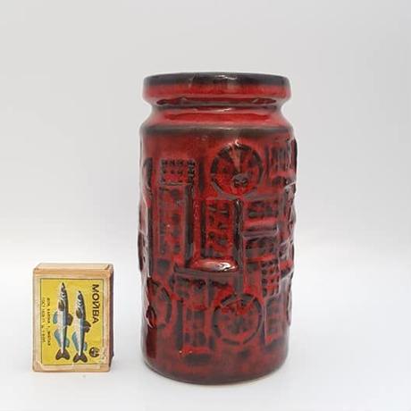 1970's BAY keramik社製 Bodo Mansデザイン レッドレリーフモチーフ ベース/WK161
