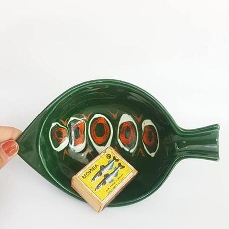 1960's イタリア製 魚モチーフ グリーン飾り皿