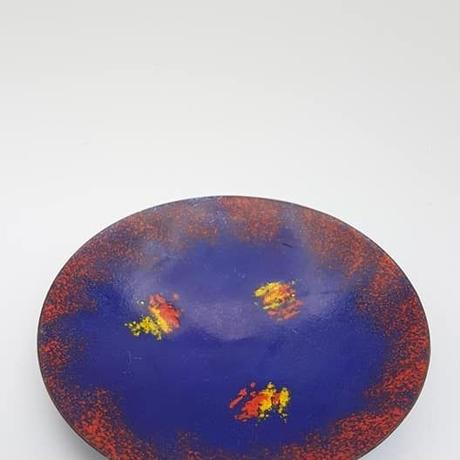 1960's DDRエナメル皿 ブルー×レッド DE005