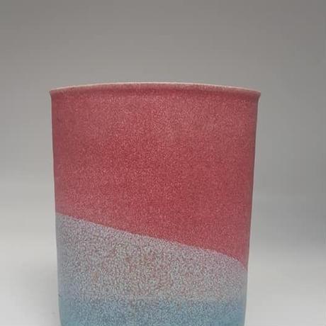 デンマーク SPOTTRUP keramik製 コーラルピンク×スカイブルー グラデーションベース /HG012(WK029B)