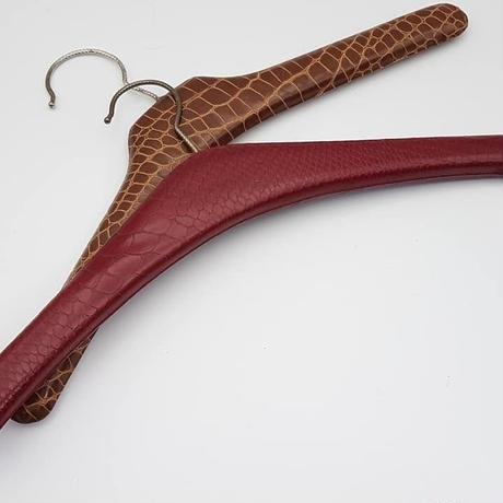 1960's DDRクロコダイルハンガー(PUレザー)/ブラウン×ワインレッド 2本セット