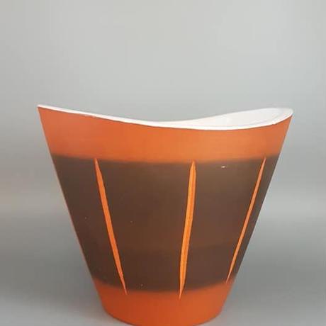 1960's~70's  Dumler & Breiden社製 ブラウン ズグラッフィート 鉢カバー/WK190