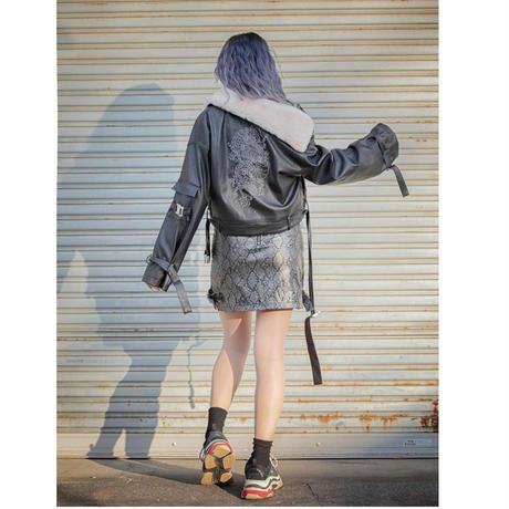 Leather Fur Jacket Dragon