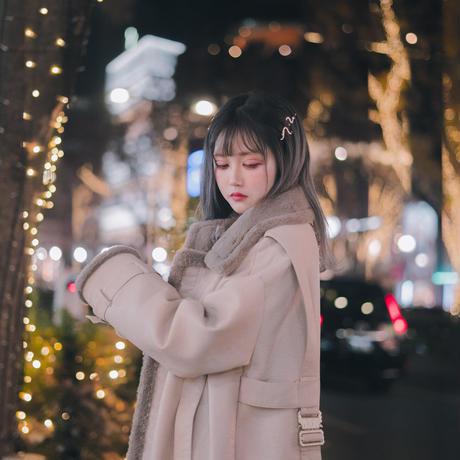予約受付中・WH・Leather Fur Long Coat
