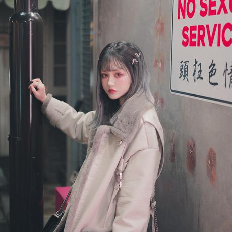WH・Leather Fur Long Coat