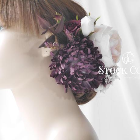 マムとローズのヘッドドレス/ヘアアクセサリー(ニュアンスパープル)*結婚式・成人式・ウェディングドレスに