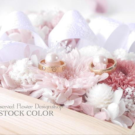 紫陽花とマムのリングピロー(シルキーピンク)升アレンジ*プリザーブドフラワー