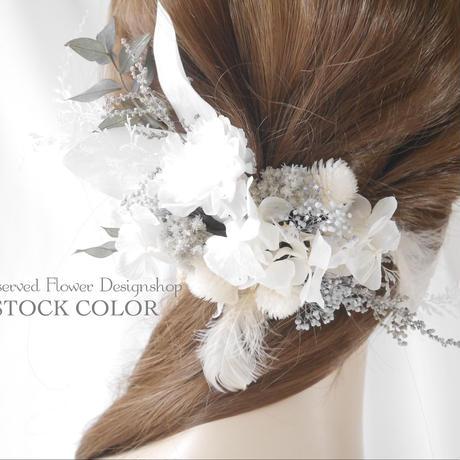 カーネーションとホワイトリーフのナチュラルヘッドドレス・ヘアアクセサリー(Gray)*ウェディング・白無垢・成人式に