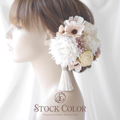 ダリアとコスモスのヘッドドレス/ヘアアクセサリー(ホワイトコーラル)*結婚式・成人式・ウェディングドレスに
