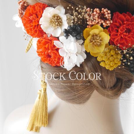 プチダリアとソラフラワーのヘッドドレス/ヘアアクセサリー(ブライトレッド)*結婚式・成人式・ウェディングドレスに