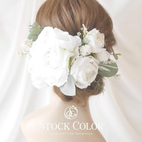 ホワイトローズとユーカリのヘッドドレス/ヘアアクセサリー*ウェディング 結婚式 成人式 ヘッドドレス 髪飾り 前撮り