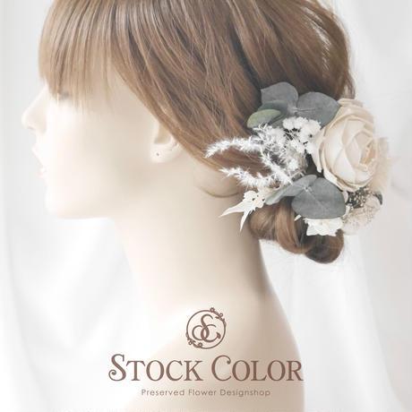 ラナンキュラスとユーカリのヘッドドレス/ヘアアクセサリー(プラチナホワイト)*結婚式・成人式・ウェディングドレスに