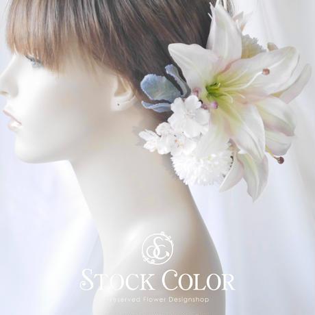 ユリと桜のヘッドドレス ヘアアクセサリー*結婚式 成人式 ウェディング 前撮り 髪飾り ヘッドドレス ヘアアクセサリー