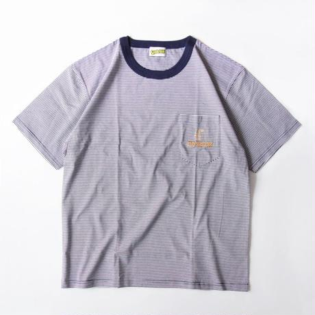 Stockroom x Naoya Koide Pin Striped S/SL Tee With Pocket <Navy x Orange>