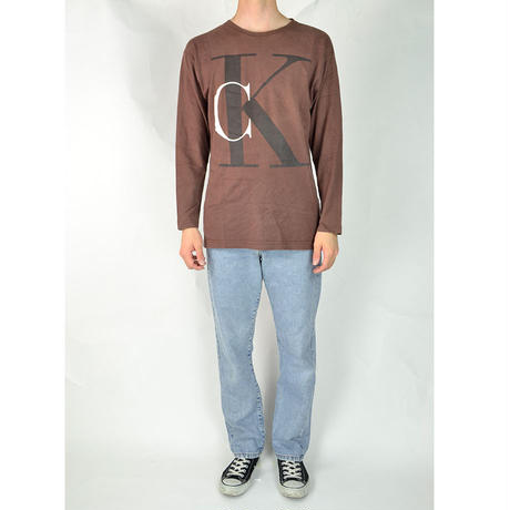 CALVIN KLEIN / L/S T-SHIRTS(USED) COL:BROWN