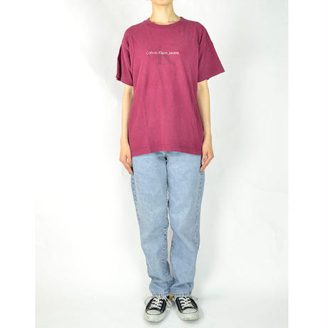 CALVIN KLEIN / S/S T-SHIRTS(USED) COL:BORDEAUX
