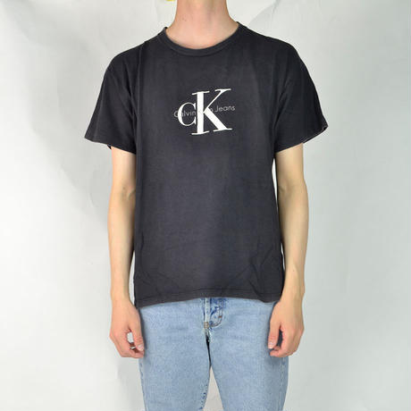 CALVIN KLEIN / S/S T-SHIRTS(USED) COL:BLACK