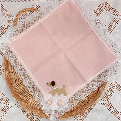 パイルハンカチ ピンク/犬