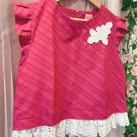 裾レースブラウス ピンク