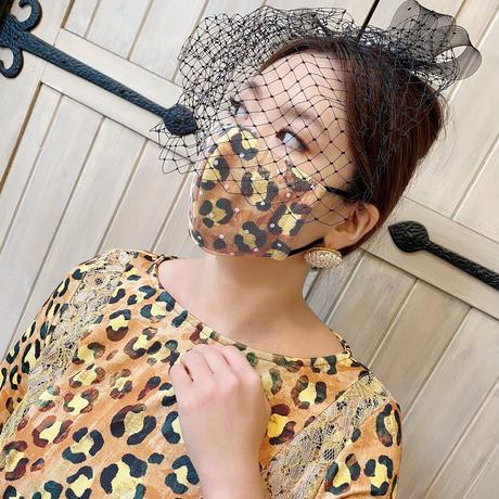 I SPARK  Mask (立体マスク) ブラウンヒョウxホワイトドットチュール