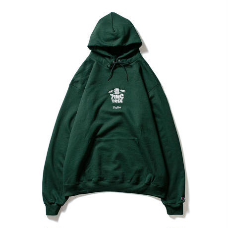 7INCTREE VINYL LOGO hoodie  (Dark Green × White)