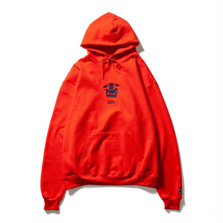 7INCTREE VINYL LOGO hoodie  (Orange × Navy)