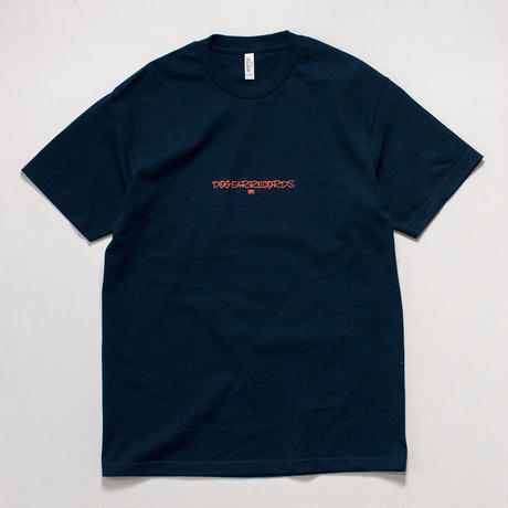 DOGEAR RECORDS tee (Navy × Salmon orange)