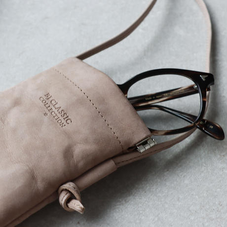 《Web限定》BJ CLASSIC COLLECTION  Leather  Glasses  Sacoche (color : Taupe)