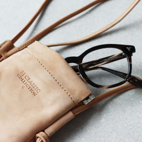 《Web限定》BJ CLASSIC COLLECTION  Leather  Glasses  Sacoche (color : Beige)