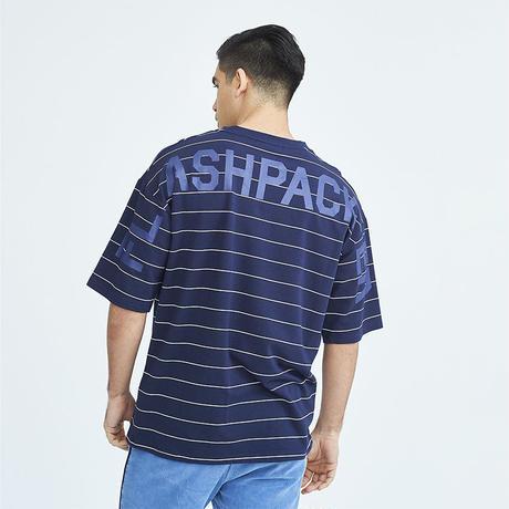 (フラッシュパッカー)FLASH PACKER XHS-UN ドロップショルダー ビッグシルエット ストライプボーダー半袖Tシャツ (FXP2019SS-12-1-NV)