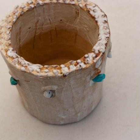 陶器製(2号ポット相当)多肉植物の欲しがる植木鉢 SSSdパワーストーン-9960