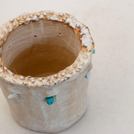 陶器製(2号ポット相当)多肉植物の欲しがる植木鉢 SSSdパワーストーン-9959