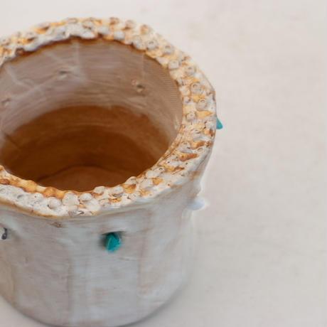 陶器製(2号ポット相当)多肉植物の欲しがる植木鉢 SSSdパワーストーン-9957