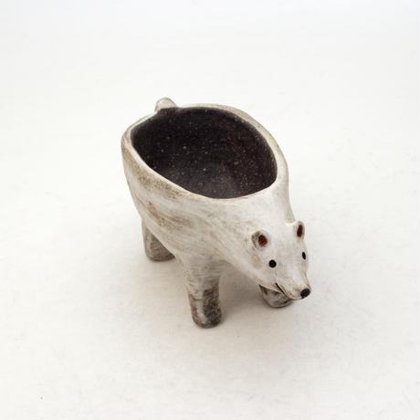 泰木窯 陶器製 シロクマ鉢  4263