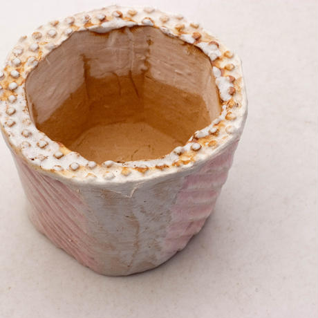 陶器製(2号ポット相当)多肉植物の欲しがる植木鉢 KESc-7882ピンク