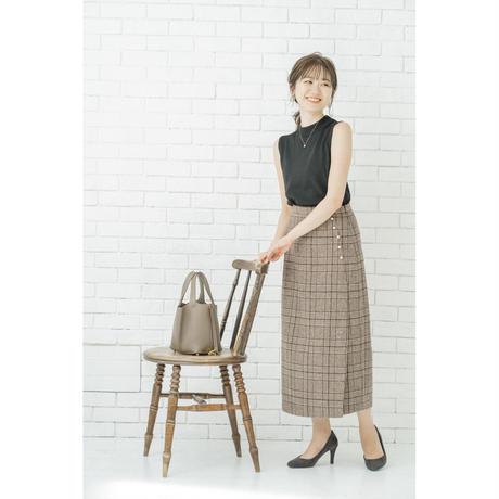 【SAORI】パールボタンチェックスカート