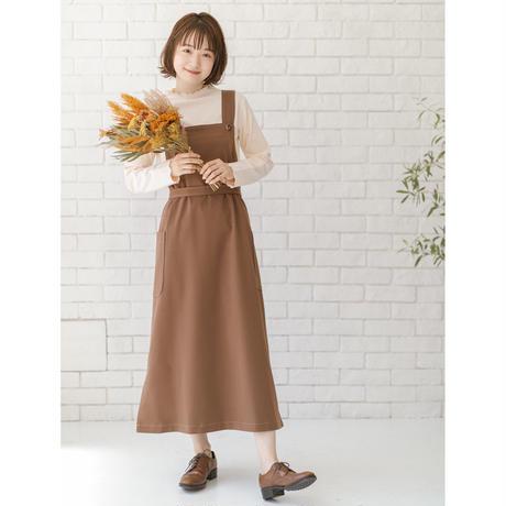 【透】バックリボン付きサイドスリットサロペットスカート