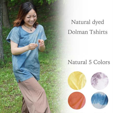 ドルマン Tシャツ  サイズフリー (藍染 ザクロ染 茜染 すす染)  ゆったりシルエット