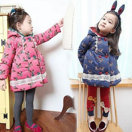 SALE!【キッズ】バンビ柄バックりぼんフリルコート110120130140韓国子供服