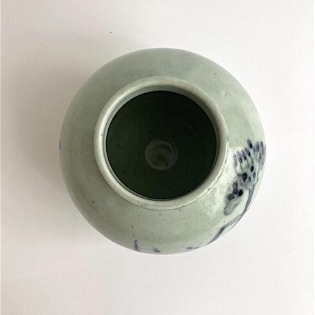 吉田崇昭 染付草花文花器
