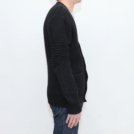 Black Cotton Knit Cardigan