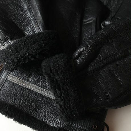 B-3 Mouton Leather Jacket Black