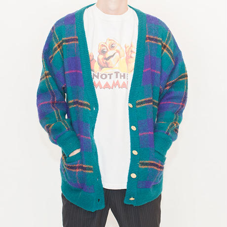 Mohair Check Knit Cardigan