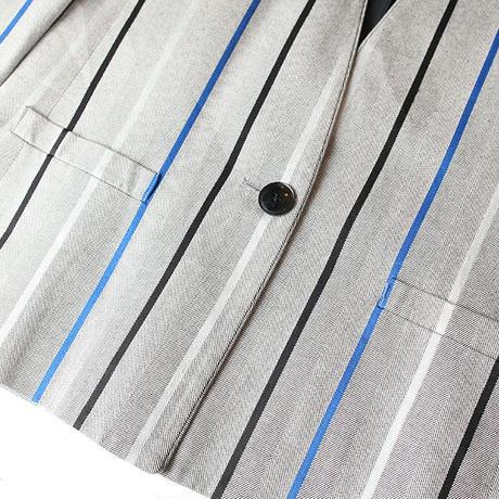 Stripe No Collar Jacket