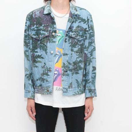 Flower Pattern Denim Trucker Jacket