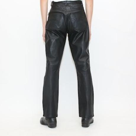 Black Leather Flared Pants
