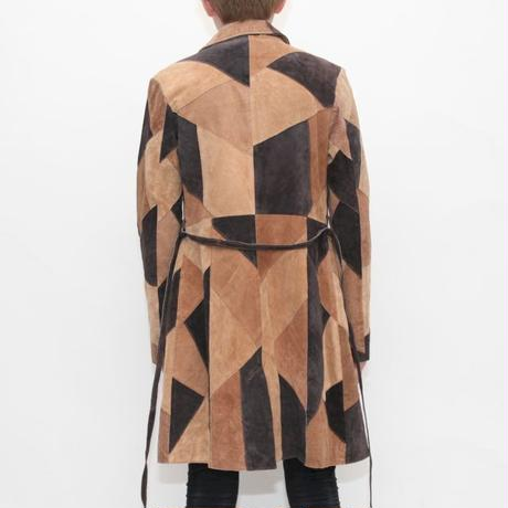 Patchwork Leather Coat