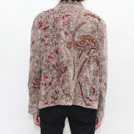 Embroidery Velour Trucker Jacket