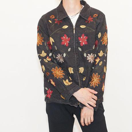 Black Denim Zip Up Jacket