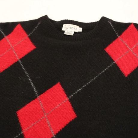Rabbit Hair Blend Argyle Pattern Sweater